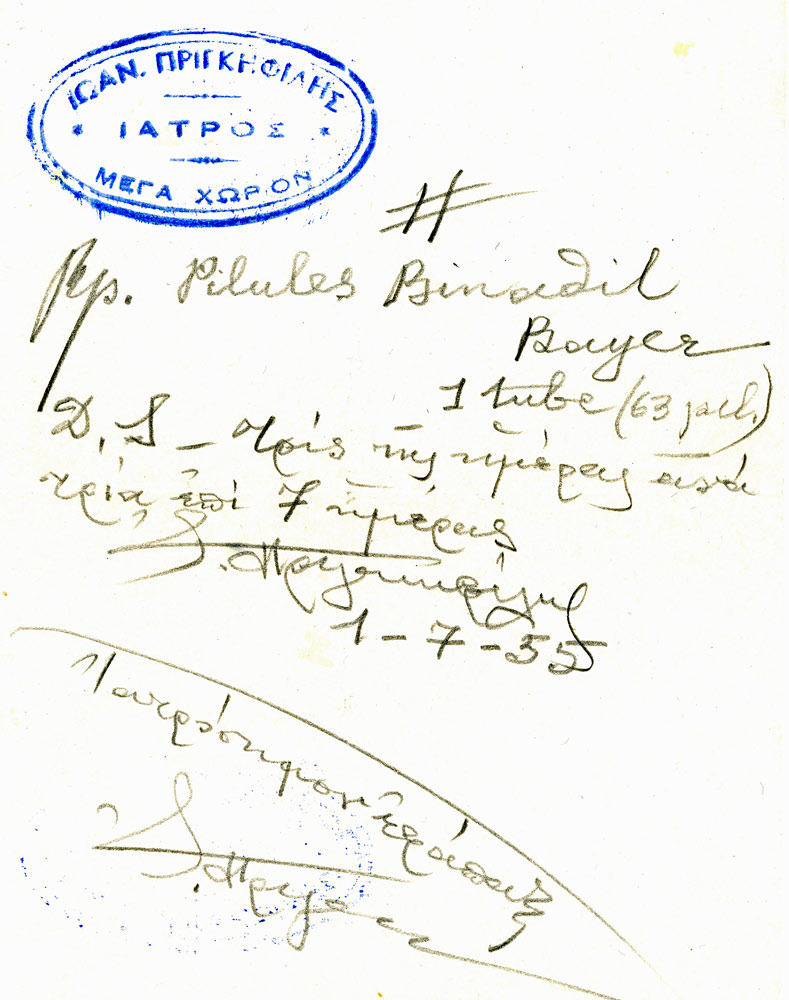 Prescription signed by I. Princephiles, MD, on July 1, 1955